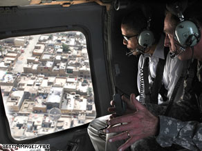 Gen. David Petraeus took Sen. Barack Obama on an aerial tour of Baghdad in July when Obama visited the country.