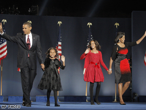 The 44th president of the United States, Barack Obama and his family last night at Grant Park in Chicago.