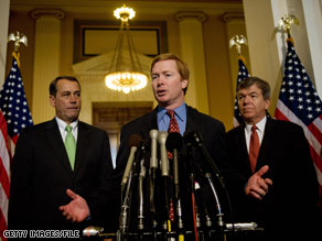 Rep. Adam Putnam, flanked in this file photo by Rep. John Boehner on the leftand Rep. Roy Blunt on the right, has said he is leaving his congressional leadership position.