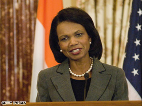 Secretary of State Condoleezza Rice said she is 'proud' of Obama's victory.