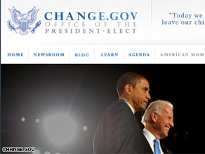 Barack Obama launched an official government Web site Thursday.
