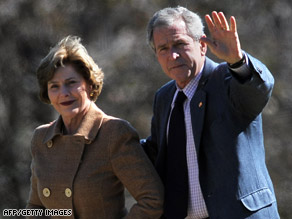 President Bush and first lady Laura Bush will welcome the Obamas to the White House on Monday.