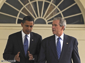 Obama and Bush met at the White house Monday.