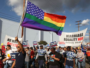 Prop 8 protesters on the streets of Los Angeles
