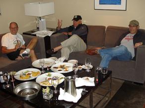 Charles Shenk, Bob Sirkus, and Michael Stern enjoy a football game