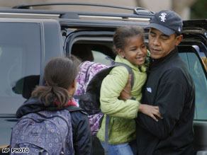 The Obama girls on their way to school in Chicago