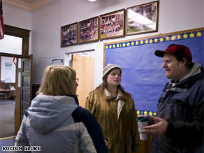 Parents discuss the Pledge of Allegiance issue with Principal Michaela Martin at Woodbury Elementary School.