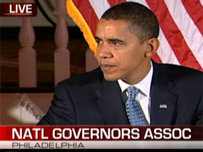 Obama is addressing the National Governors Association meeting.