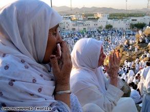 Hajj pilgrims at Mercy Mountain.