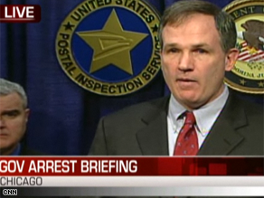 U.S. attorney Patrick Fitzgerald held a press conference Tuesday.