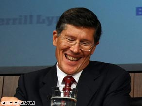 All smiles from Merrill Lynch CEO John Thain after the firm was taken over by Bank of America.