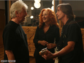 Bonnie Raitt with Graham Nash on the left, and Jackson Browne on the right. The three artists started www.nukefree.org together.
