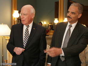 Sen. Patrick Leahy, left, will oversee Holder&#039;s hearing before the Judiciary Committee .