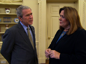 CNN&#039;s Candy Crowley interviewed President Bush Tuesday.