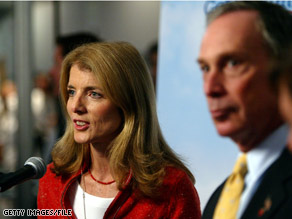 New York City Mayor Michael Bloomberg, pictured here in a 2004 file photo with Caroline Kennedy, has refused to back Kennedy in her bid for a New York Senate seat.