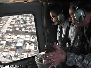 Gen. David Petraeus hosted then-Sen. Barack Obama on an aerial tour of Baghdad when Obama visited Iraq in July of this year.