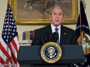 Bush announced an auto bailout plan Friday morning.