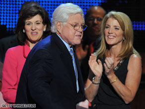 Caroline Kennedy looked on as her uncle, Sen. Ted Kennedy, made an appearance at the Democratic convention in August of this year.