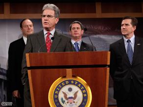 Republican senators hold press conference on auto bailout plan.
