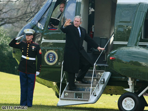 Bush (above, leaving for his last Christmas at Camp David) is re-examining clemency for Isaac Toussie.