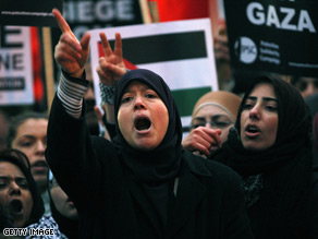 Civilians protest in opposition to Israeli military action in Gaza.