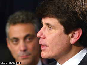 Rahm Emanuel, pictured in this 2003 file photo with Blagojevich, released a resignation letter to the Illinois governor Monday.