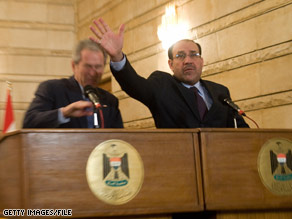 Iraqi Prime Minister Nuri al-Maliki tried to block one of the shoes thrown at President Bush in December during Bush's visit to Baghdad.