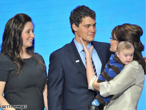 Bristol Palin with Levi Johnston, mother Sarah Palin and brother Trig at the GOP convention.