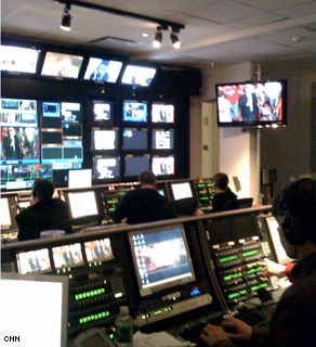 Richard Morris (bottom right) plugging away in the control room.