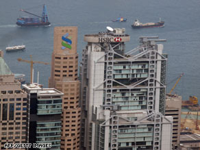 The Hong Kong headquarters of Standard Chartered and HSBC as seen on Saturday