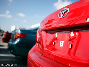 Toyota vehicles are seen on a sales lot in Miami, Florida, on December 22.