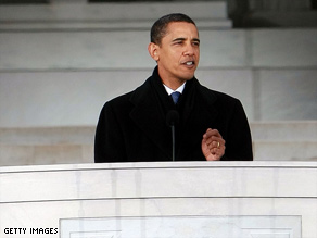 U.S. President Barack Obama speaks at his inauguration on Tuesday.