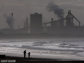 The Corus steelworks overshadows the beach in Teeside, northern England.