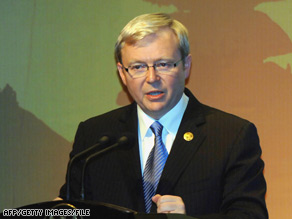 "Kevin Rudd's government unveiled a ""nation building and jobs plan,"" as the central bank cut its cash rate."