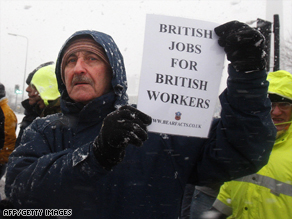 Protesters demonstrate outside the Lindsey Oil Refinery in northern England, on February 2.