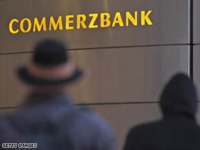 Commerzbank shares suffered in Germany.