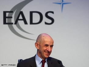 EADS CEO Louis Gallois announces the 2008 results during a press conference in Munich.