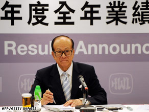 Tycoon Li Ka-shing, head of Hutchison Whampoa, at a press conference in Hong Kong Thursday