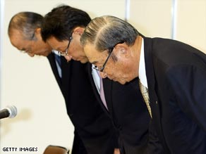 The top executives for Toyota at a press conference in January.