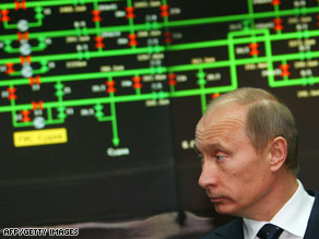 Russian Prime Minister Vladimir Putin visits the central control room at the Gazprom HQ, Moscow, January.