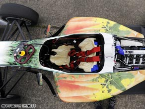 Potato fuselage?: A look down into the cockpit of the WorldFirst Formula 3 racing car.