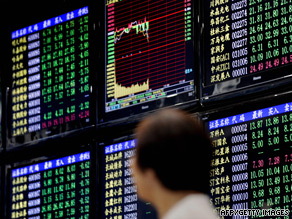 Shanghai's stock exchange took a battering Tuesday, hitting 8-month lows.