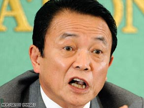 Japan's Prime Minister Taro Aso's  $150 billion stimulus helps nation out of recession.