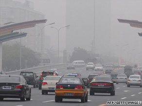 Pollution hangs over Chang'An Avenue near Tiananmen Square in Beijing, China, at the end of September.