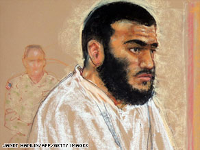 Canadian Omar Khadr, accused at 15 of killing a U.S. soldier in Afghanistan, sits in a Gitmo hearing.