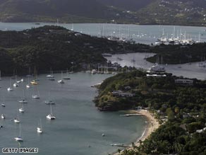 English Harbor, Antigua, where Australian luxury yacht captain Drew Gollan was murdered in January.