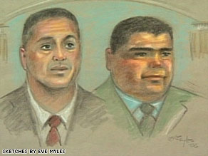 An artist's sketch shows Ignacio Ramos, left, and Jose Compean.