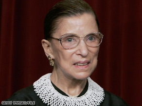 Justice Ruth Bader Ginsburg, 75, entered the courtroom Monday smiling broadly.