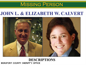John and Elizabeth Calvert are featured on missing persons posters on Hilton Head Island, South Carolina.