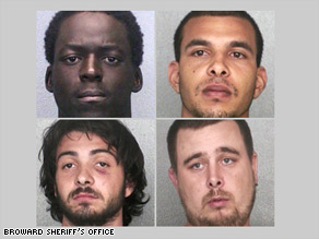 The suspects, clockwise from top left are: Lernio Colin, Angel Cruz, Peter MacDonald and Christopher Harter.